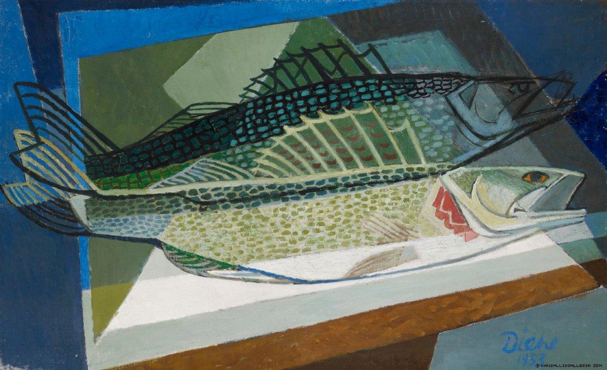 Gosta-Diehl-Still-Life-with-Fishes-1953